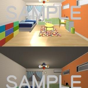 「素材」 カラフルな部屋 フルカラー