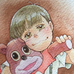 アナログ原画「Me and Teddy」