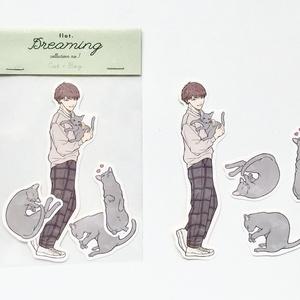 【ステッカー】Cat × Boy