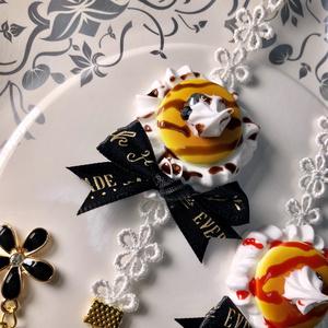 もちアクセサリー(ホットケーキ)黒リボン
