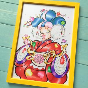 ♡ KIMONO SS19 ♡ 木製フレーム付 ✩ FASHION ART A4