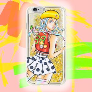 ❤ iPhone ケース ❤  So in Love✩ファッションイラスト✩スマホケース✩ガール✩1988✩グリッターPink✩Yellow Gold