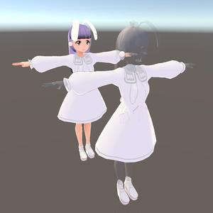 【無料】VRoid衣装「ドコカノうさぎコスプレセット」ワンピース+瞳