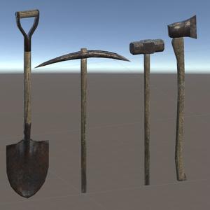 【3Dモデル】斧・金槌(ハンマー)・ツルハシ・シャベル 4種まとめ