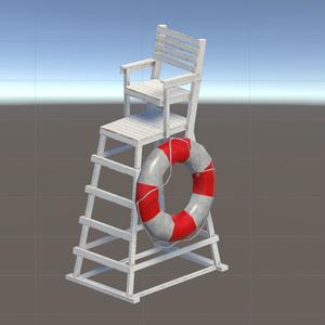 【3Dモデル】ライフガード(ライフセイバー)の椅子と救命浮輪