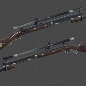 【3Dモデル】パーカッションロック式ライフル