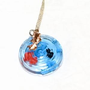金魚の波紋 丸型ペンダントネックレス