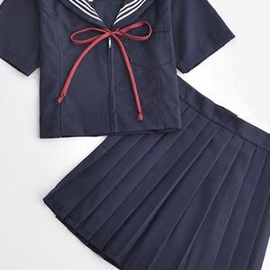 JK紺色セーラー服 女子高生コスプレ制服 3本ラインタイプ 赤2本線セーラー服 ベーシック半袖学生服