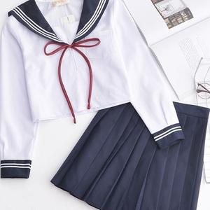 関西衿短袖セーラー服 JK女子高生学生服 紺色襟白三本ラインセーラー制服 長袖女子通学服