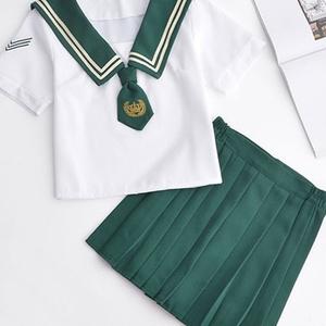 送料無料 JK 学生制服風 セーラー服 セット半袖 文化祭 かわいい ミドリネクタイ 刺繍飾り 二本ライン