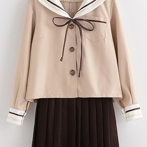 茶色JK女子高生セーラー服 清純姫風学生服 大きいサイズコスプレセーラー学生服 2本ライン短袖セーラー制服 茶色女子通学服