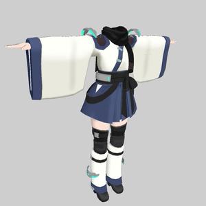 VRC等想定・着せ替え改変用サイバー巫女服モデル