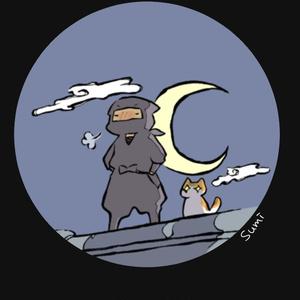 [壁紙] 夜、忍者とネコ