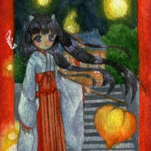 ミニ原画「夜の神社」