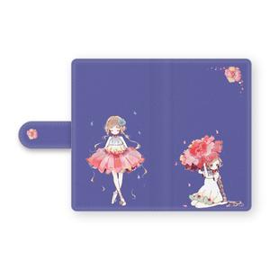 少女(花/ブルー)手帳型Androidケース