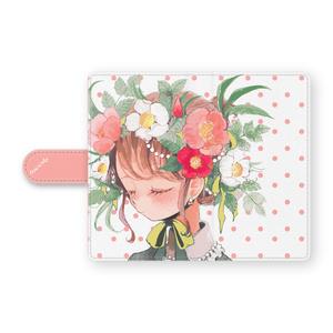 少女(ボタニカル/ドット)手帳型Androidケース