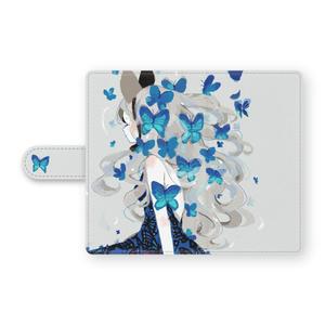 少女(青い蝶)手帳型Androidケース