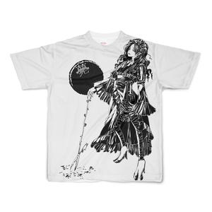 【値下げ版】「薨」フルグラフィック白Tシャツ