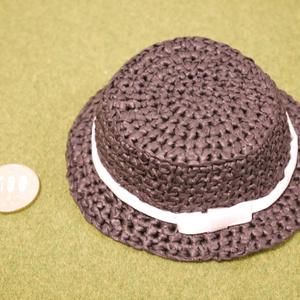 🎀推し色リボン🎀のかんかん帽風帽子(ぬい)
