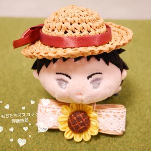 🎀推し色リボン🎀の麦わら風帽子(ねん・キュポ・もち)