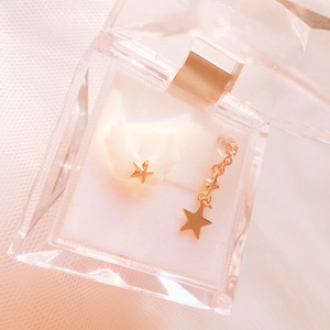 羽根と星のアシンメトリーピアス