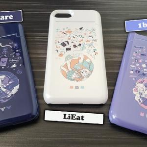 ICカード収納&ミラー付きスマホカバー(iPhone7&8専用)