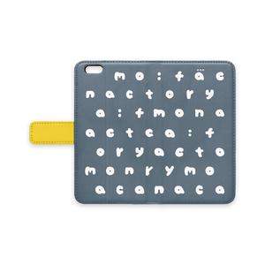 m:f アルファベット IPhone手帳型ケース ネイビー
