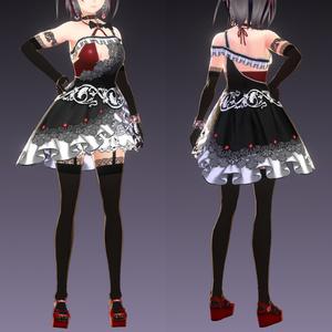 【VRoid用衣装テクスチャ】サキュちゃんの小悪魔ドレス
