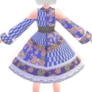 【VRoid】タートルブルー浴衣ドレス