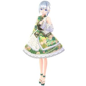 【VRoid】リーフグリーン浴衣ドレス