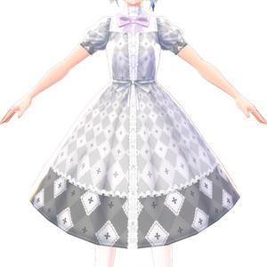 【VRoid】アイリスグレーチェック柄ワンピース