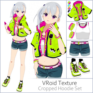 【#VRoid】クロップドパーカーセット【セルルック対応】