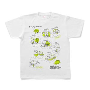 【期間限定】ゴルシさおり CR今日もカツ丼コラボTシャツ(カツ丼星人の1週間_白)