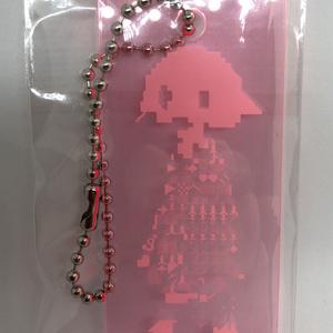 ピンクの長方形アクキーC