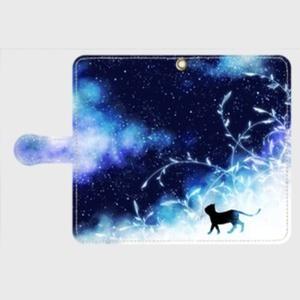 黒猫と不思議な夜空のスマホケース
