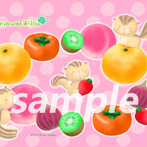 リスと果物の壁紙ピンク(ひまわりりす)