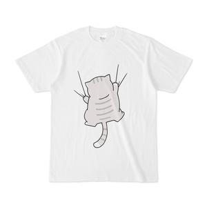 しがみつく猫Tシャツ〈グレー〉