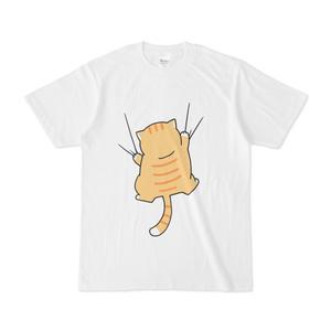 しがみつく猫Tシャツ〈茶〉