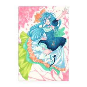 桜の木と雨の精のポストカード