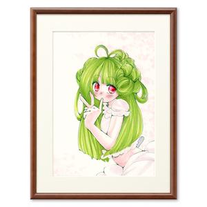 コピック原画複製画緑髪の女の子