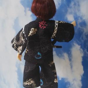 1/6ドール用・龍柄甚平 Sサイズ(黒)