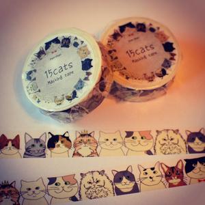 15cats オリジナルマスキングテープ