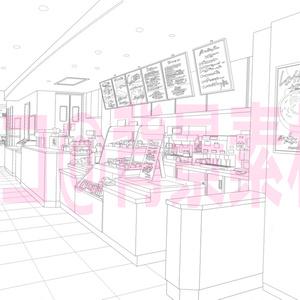 背景線画「カフェ1レジ前」
