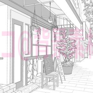 背景線画「カフェ2外観」