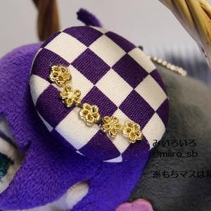 ベレー帽風アクセサリー・市松と花
