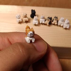 まめ猫・まめ柴 の木彫り