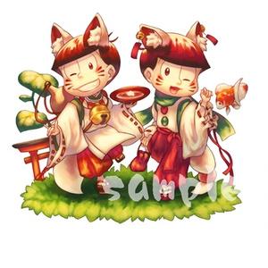 お狐様アクリルキーホルダー/紅松/色松/若葉松