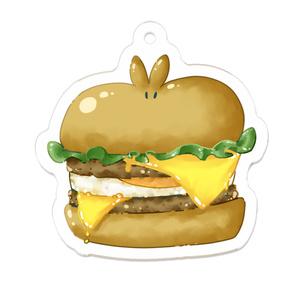 うさぎハンバーガーアクリルキーホルダー