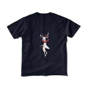 貴方の背中でアンドロイドの女の子が落下しているTシャツ