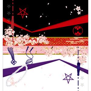 【TYO/受注生産】 星昴ふくさ風合皮ポーチ(表の皇/裏の桜塚)※両面印刷 ※送料込